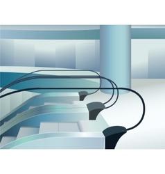 Blue escalators indoor in mall vector