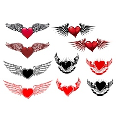 Heart tattoos with wings vector