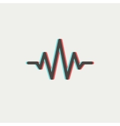 Sound wave beats thin line icon vector