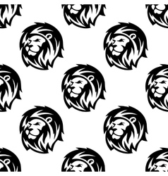 Seamless pattern of eraldic lions with shaggy mane vector