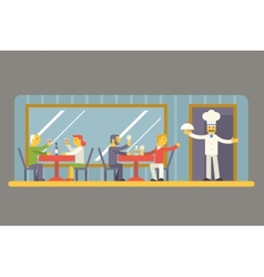Restaurant cafe with chef and visitors characters vector