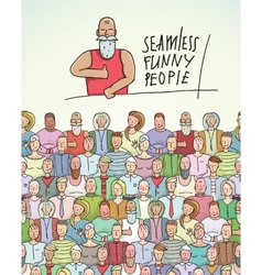 Thumbs up man and people crowd seamless colorful vector