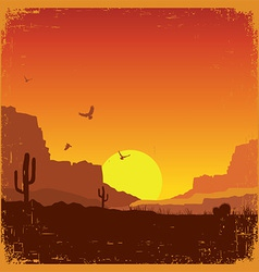 Wild west american desert landscape on old texture vector