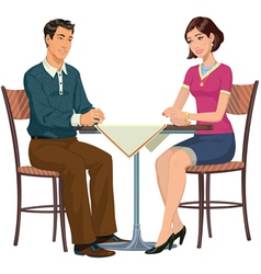 Man and woman at the table - vector