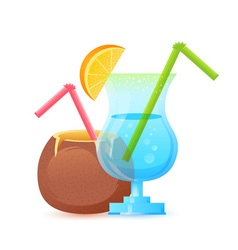 Fresh summer cocktail in glass and coconut vector