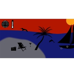 Warm sea sun beach vacation vector