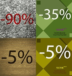 35 5 icon set of percent discount on abstract vector