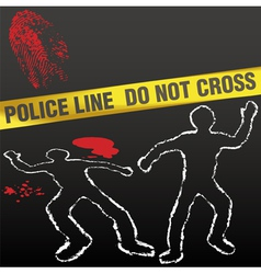 Crime scene with police tape vector