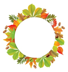 Round autumn banner vector