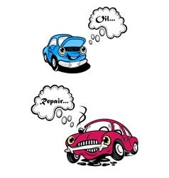Two cartoon car characters vector