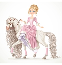 Cute princess on a white horse with a long mane vector