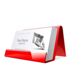 Red glossy holder for business cards vector