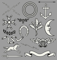 Heraldic symbols and elements vector