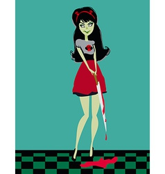 Cute evil girl with a bloody knife vector