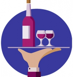 Waiter with wine vector