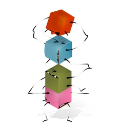 Funny toy blocks pyramid vector