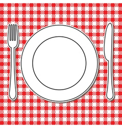 Plate fork and knife vector