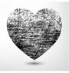 Black grunge heart vector