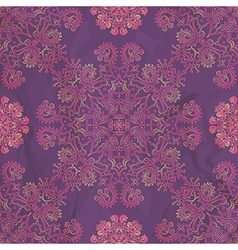 Ornamental seamless pattern on purple texture vector