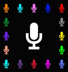 Microphone icon sign lots of colorful symbols for vector