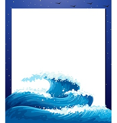 An empty paper template with giant waves vector