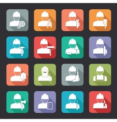 Set of construction worker flat style icons vector