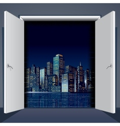 Door to city vector
