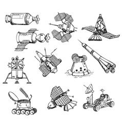 Many different spacecrafts vector