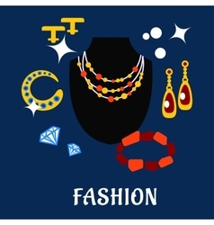 Fashion and jewelry flat icons vector