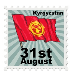 Post stamp of national day of kyrgyzstan vector