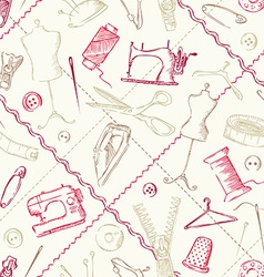 Seamless pattern of sewing elements vector