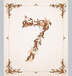 Retro vintage letter number in a frame vector