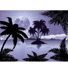 Night tropic island vector