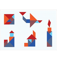 Tangram house aircraft candle lighthouse vector