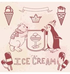 Various ice cream set vector