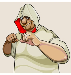 Cartoon character fighter man in the hood vector
