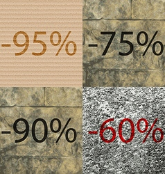 75 90 60 icon set of percent discount on abstract vector
