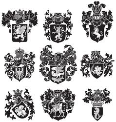 Set of heraldic silhouettes no3 vector