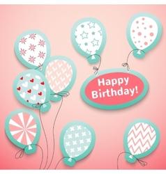 Happy birthday retro postcard with pattern vector