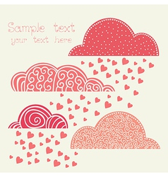 Rain of heart with clouds in pink vector