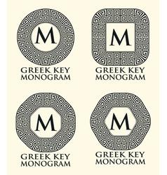Greek key ornament monogram set vector