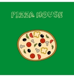 Hand drawn colorful pizza with slogan vector