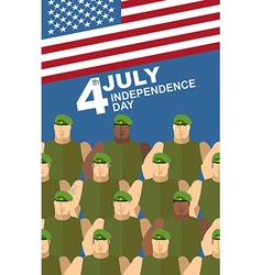 4th july american independence day soldiers in vector
