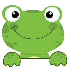 Cute frog smiling over a sign board vector