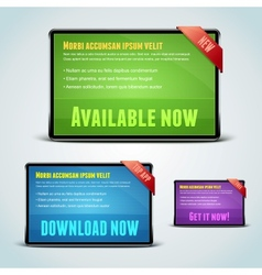 Set of 3 download banners for your website vector