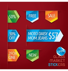 Glass market stickers vector