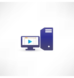 Blue computer with play vector