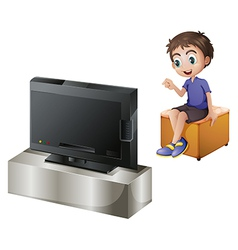 A young man watching tv vector