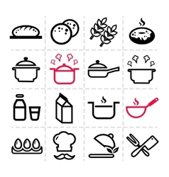 Simple kitchen icons vector
