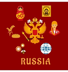 Russian traditional national flat symbols vector
